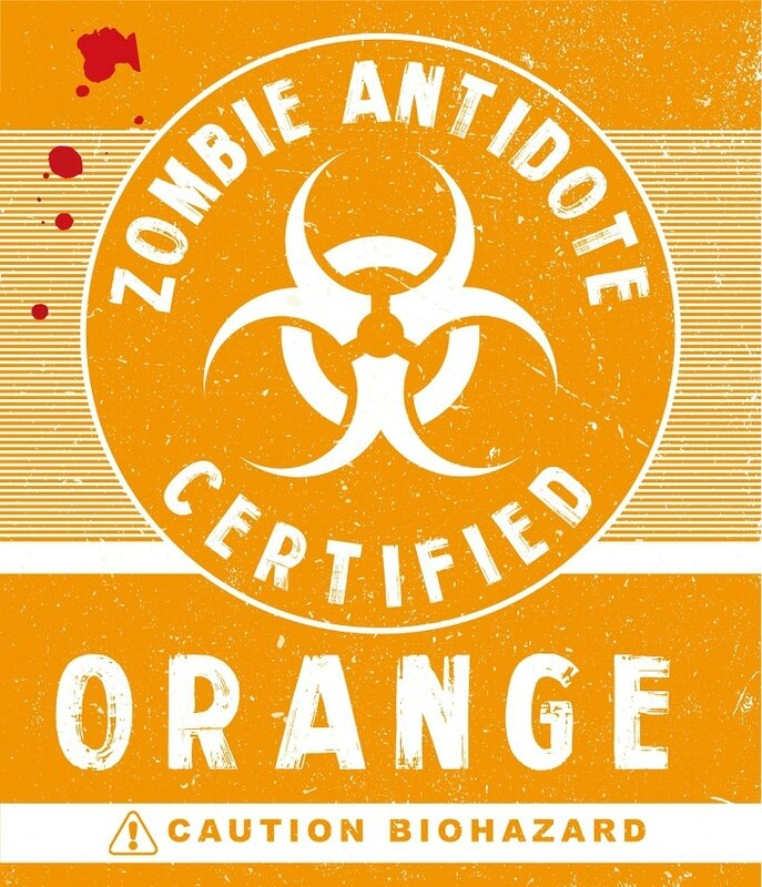 antivirus zombie orange Label Halloween Zombie Biohazard