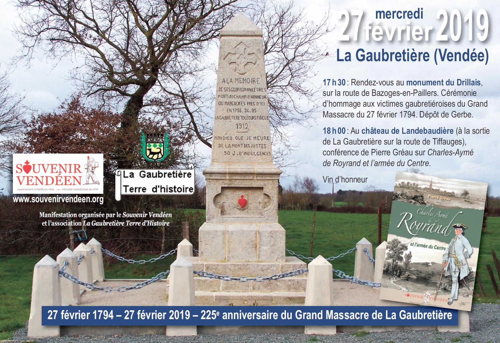 225e anniversaire du Grand Massacre de La Gaubretière