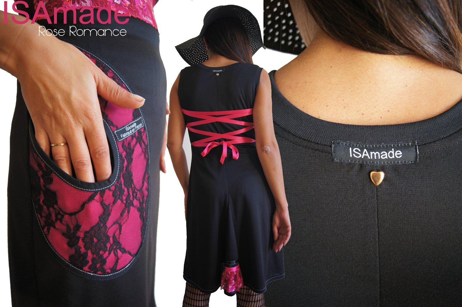 Robe Dentelle laçage Dos fantaisie Bicolore Graphique Noir/Fuchsia femme