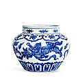 An exceptional blue and white 'lion and ball' jar, mark and period of xuande (1426-1435)