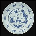 A blue and white 'Deer and Crane' dish, Jiajing mark and period (1522-1566)
