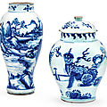 A blue and white 'lion' jar and cover, transitional period, 17th century, and a blue and white baluster vase, qing dynasty, 18th