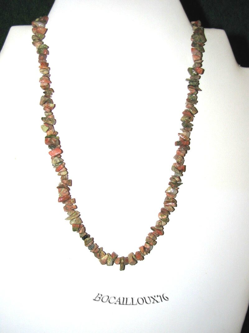 COLLIER UNAKITE Chips 4 - Fermoir Crochet ARGENTE