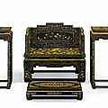 A very rare imperial hardstone-inlaid, gilt-decorated lacquer throne setting, 19th century