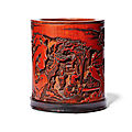 A carved bamboo 'flute music to enchant the phoenix' brush pot, kangxi period (1662-1722)