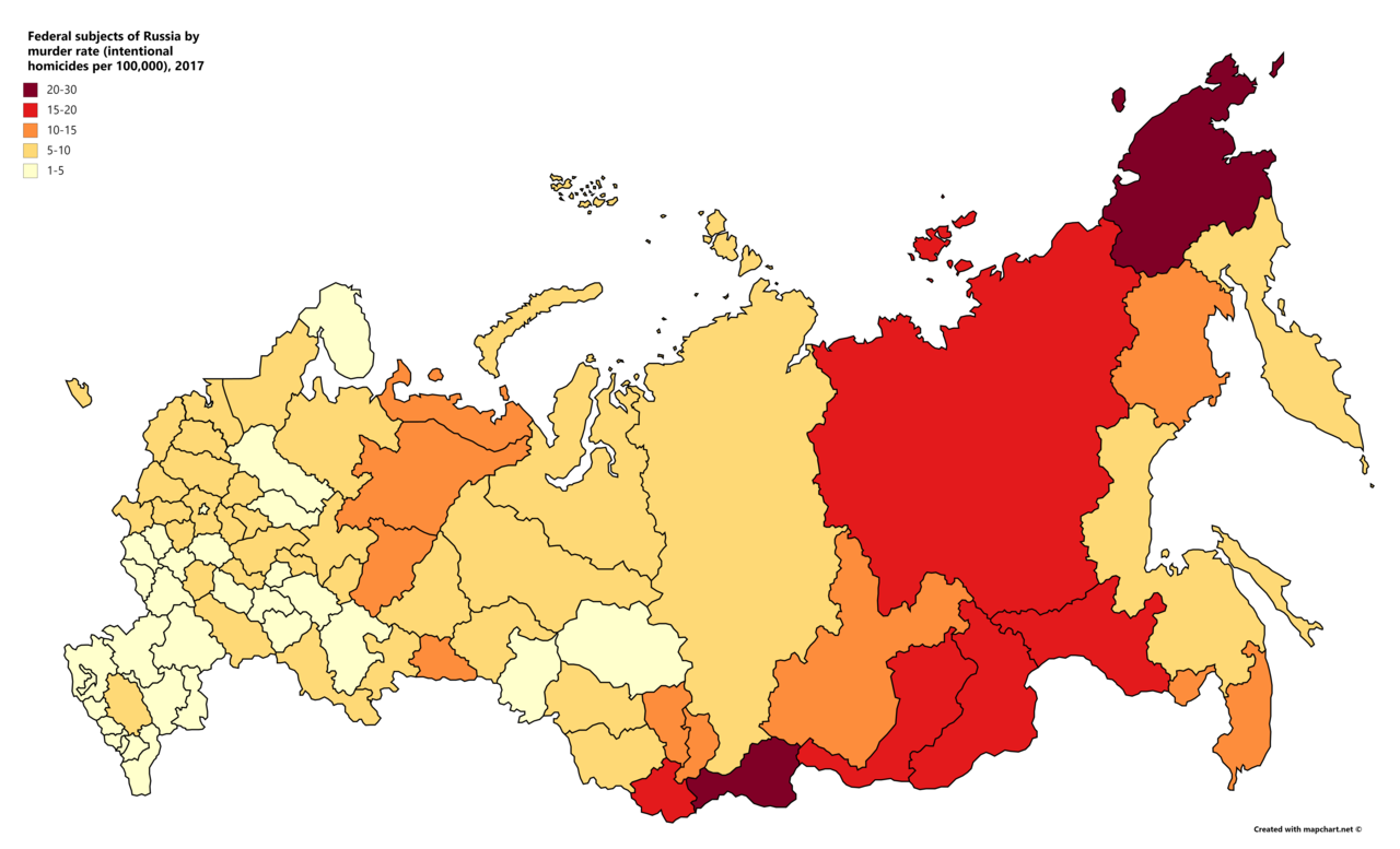Russie-Russian regions by murder rate