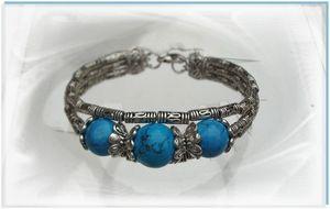 1 Rose Bracelet Ethnique Trianon Perles Turquoise 14 et 12 mm Argent du Tibet
