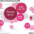 Map of wine exports in 2016