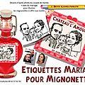 Mignonnette mariage - bouteille de vin mariage - étiquettes illustration du couple de mariés