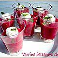 Jeu concours feeling cooking: les verrines salées ou sucrées de l'été: duo betterave chèvre