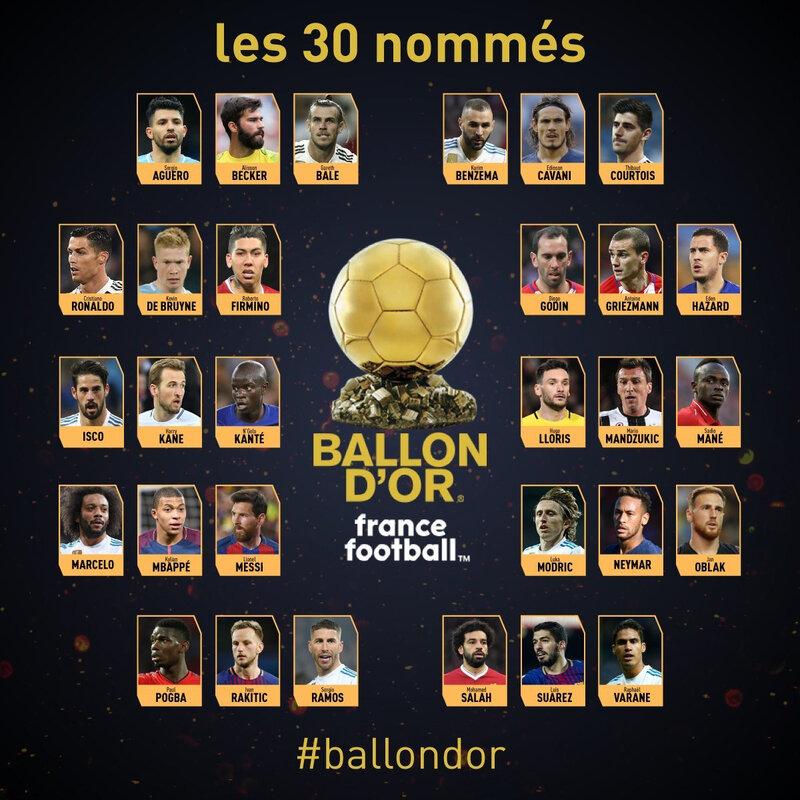 ballon d'or 2018 les 30