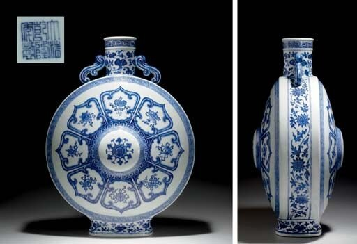 A_large_Ming_style_blue_and_white_moonflask__Qianlong_seal_mark_in_underglaze_blue_and_of_the_period__1736_1795_