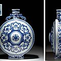 A large ming-style blue and white moonflask, qianlong seal mark in underglaze blue and of the period (1736-1795)