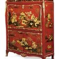 A louis xv ormolu-mounted chinese red and gilt lacquer and vernis martin secrétaire à abattant. attributed to francois rubestuck