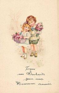 Enfants aux fleurs vintage