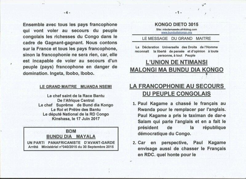 LA FRANCOPHONIE AU SECOURS DU PEUPLE CONGOLAIS a