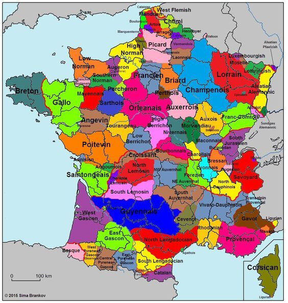 Languages dialects of France before the standardization of the French language