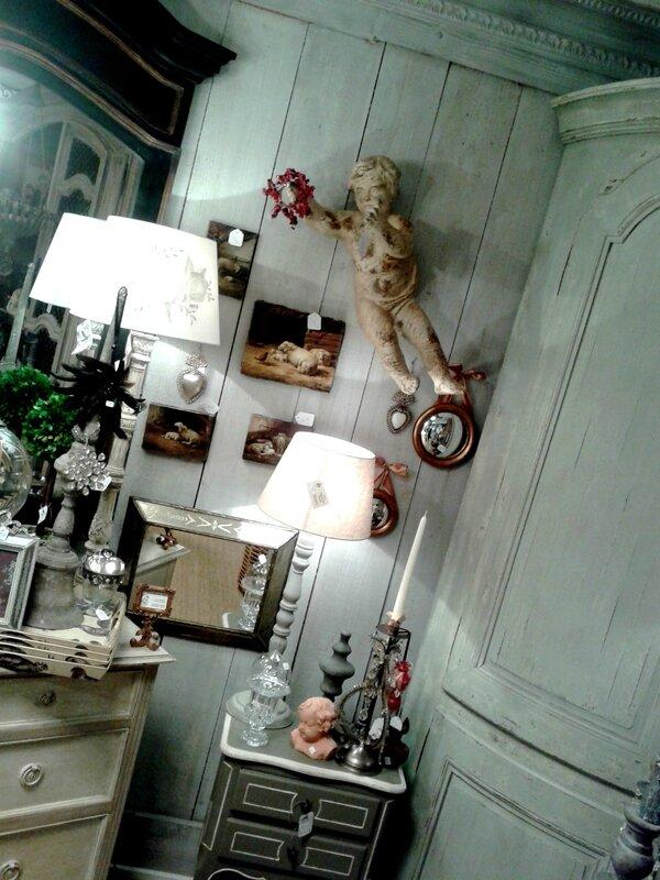 encoignure,ange,huile sur toile,lampe,