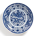 A very rare large blue and white 'dragon' charger, mark and period of yongzheng (1723-1735)