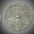 Two bronze mirrors, Tang dynasty, 8th-9th century
