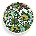 A fine biscuit-enamelled sancai dish, mark and period of kangxi (1662-1722)