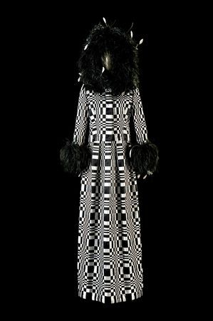 Homage to Vasarely, 1965. By Roberto Capucci (Italian, b. 1930). Rue Cambon Atelier Paris. Dress, black and white woven satin ribbons, 'optical' effect, black plumes. Claudia Primangeli / L.e C. Service. Courtesy of the Philadelphia Museum of Art