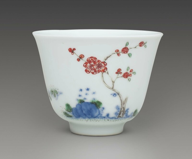 A famille verte 'Apricot Blossom' 'Month' cup, Kangxi six-character mark in underglaze-blue within a double circle and of the period (1662-1722)