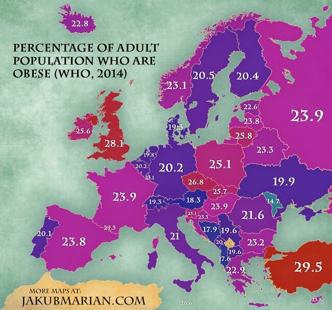 obese population by country in Europe