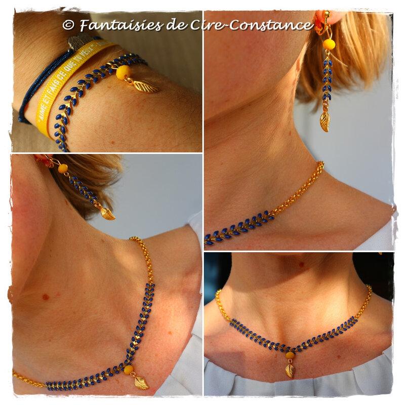 Parure BO bracelet collier Epis d'or-1