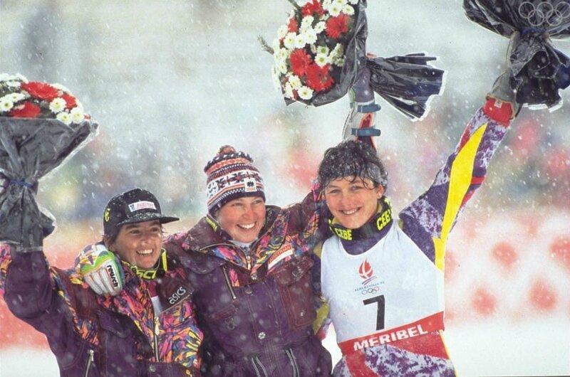 Photo Podium Combiné Alpin Anita Wachter Petra Kronberger Florence Masnada CIO