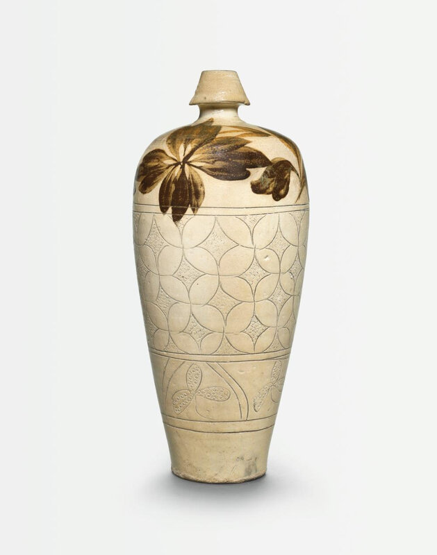 A fine and large 'Cizhou' painted and sgraffiato meiping, Northern Song dynasty (960-1127)