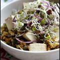 Salade de petit épeautre et lentilles vertes au tofu fumé