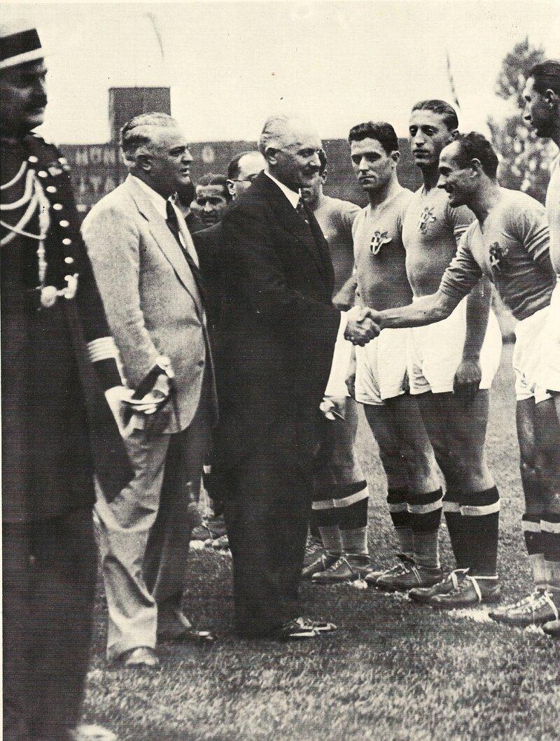 1938 Photo Finale Président Albert Lebrun Gal Vaccaro Joueur Andreoto ex Uruguay