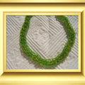 collier rocaille verte et or