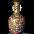 A rare gold-ground famille-rose 'chilong' vase, qianlong period, 1736-1795