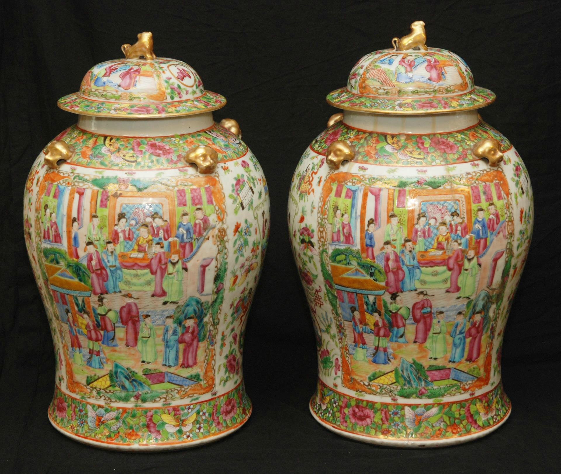19th Century Chinese Four Panel Famille Rose Porcelain