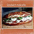 Sandwich malicette poulet tomâtes confites roquette parmesan