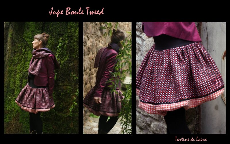 Jupe Boule Tweed Rose Violet