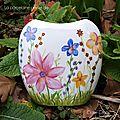 Peinture florale sur vase en porcelaine