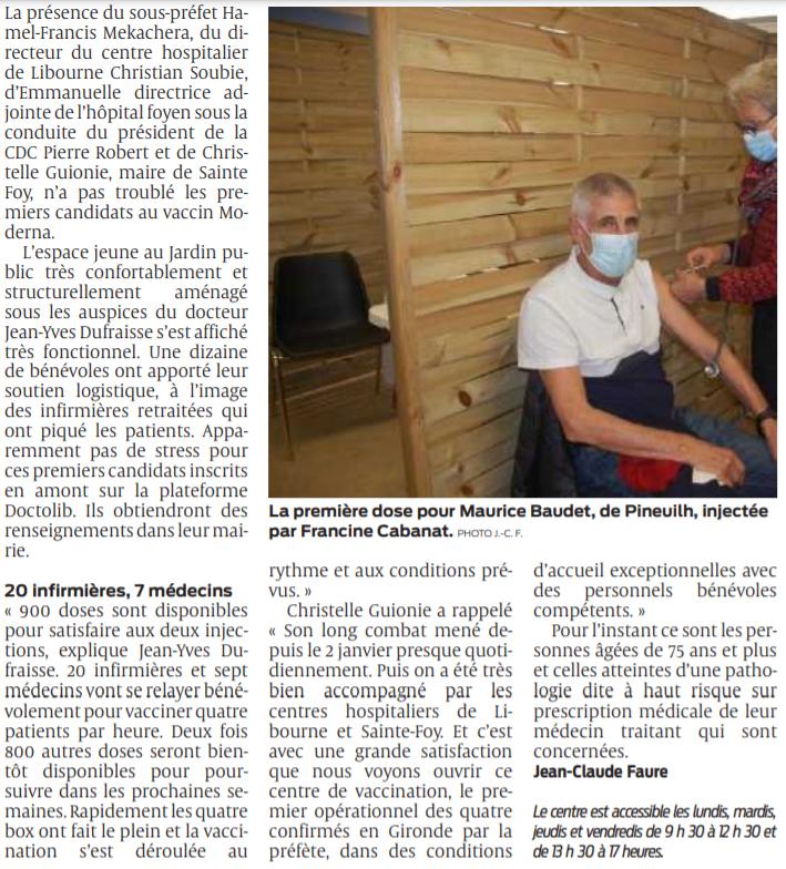 2021 03 01 SO Sainte-Foy-la-Grande 900 doses disponibles pour les premiers candidats au vaccin Moderna2
