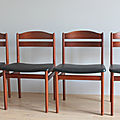 Lot de 4 chaises scandinave 60's