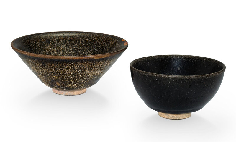 Two Jian 'hare's fur' bowls, Song dynasty (960–1279)