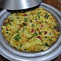 Omelette de pommes de terre poivron et tomate au tajine