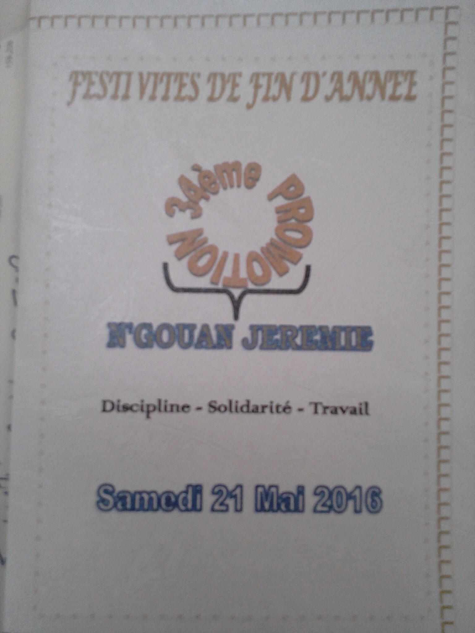 CAFOP D'ABOISSO/DIRECTION/SERVICE VIE SCOLAIRE/FESTIVITÉS DE FIN D'ANNEE DU 20/05 AU 21/05/2016