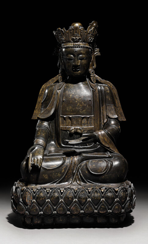 A large bronze seated figure of Sakyamuni , Ming dynasty, 16th-17th century