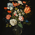 Balthasar van der as, still life of mixed flowers in a glass vase, with three shells, a grasshopper and a spider on a tabletop