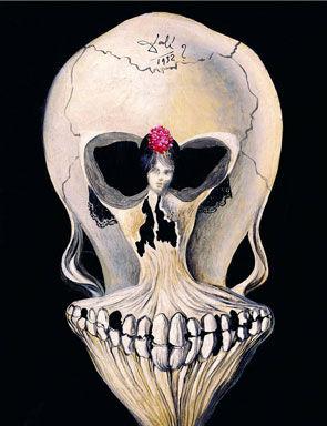 Salvador Dalí, Crâne avec danseuse, 1932. Huile sur toile, 24.5 x 19.5 cm. Vaduz, Sammlung Merz, courtesy Kunstmuseum Liechtens