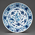 A blue and white 'crane' dish, yongzheng six-character mark in underglaze blue and of the period (1723-1735)