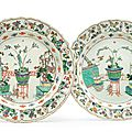 A pair of famille verte chargers, Kangxi period (1662-1722)
