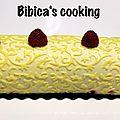 Bûche mousse chocolat blanc, insert citron et framboises fraîches {au i-cook'in}